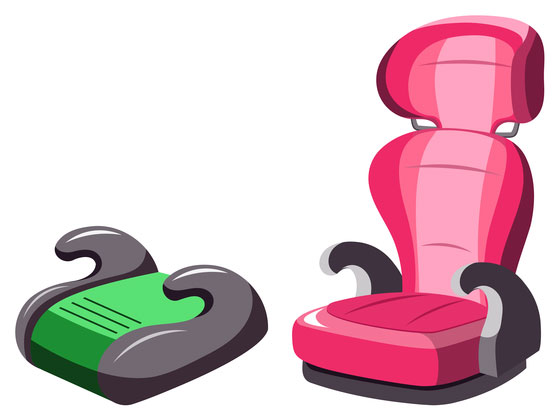red and green booster seats